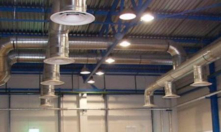 монтаж систем вентиляции складского комплекса